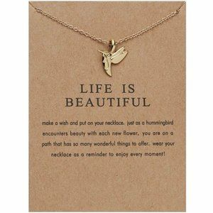 Life is Beautiful Hummingbird Charm Necklace Gift
